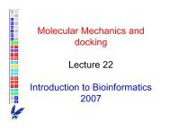 Molecular Mechanics and docking Lecture 22 Introduction to ...