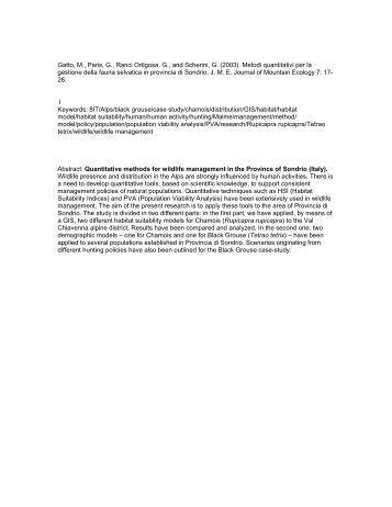 Metodi quantitativi per la gestione della fauna selvatica in - Kora