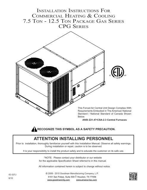 goodman heating wiring diagram free download 7 5 ton 12 5 ton package gas series cpg series goodman  12 5 ton package gas series cpg series