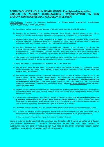 Toimintaohje koulun henkilöstölle - Väestöliitto