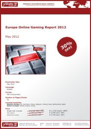 Europe Online Gaming Report 2012 - yStats.com