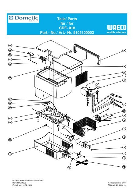 electrical wiring diagrams dometic waeco cdf 018 spare parts drawing a list e leisure spares  cdf 018 spare parts drawing a list e