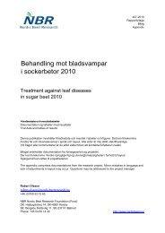 Behandling mot bladsvampar i sockerbetor 2010 - nordicbeet.nu