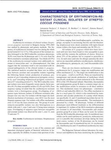 characteristics of erythromycin-resist - Journal of IMAB