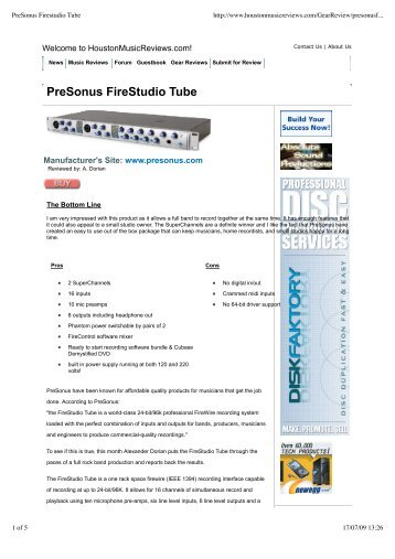 PreSonus Firestudio Tube - Audiolog