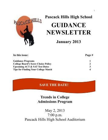 GUIDANCE NEWSLETTER - Pascack Valley Regional School District