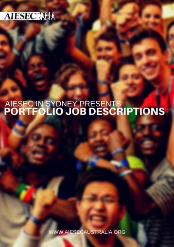 PORTFOLIO JOB DESCRIPTIONS