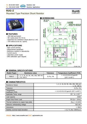 Mounted Type Precision Shunt Resistor - RARA - Resistors And ...