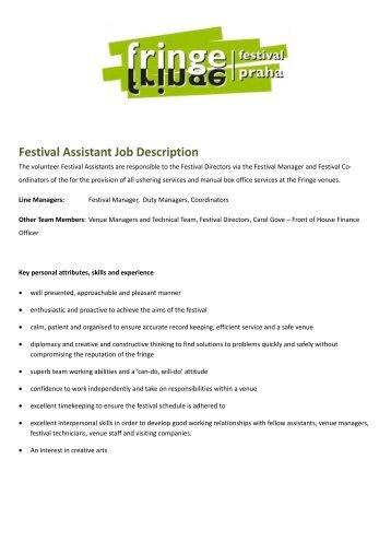 Festival Assistant Job Description - Prague Fringe Festival