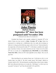 press release - The DuPont Theatre