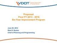Proposed Final FY 2013 - 2018 Six-Year Improvement Program