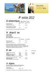 Preisliste 2012 - Haflinger Tirol