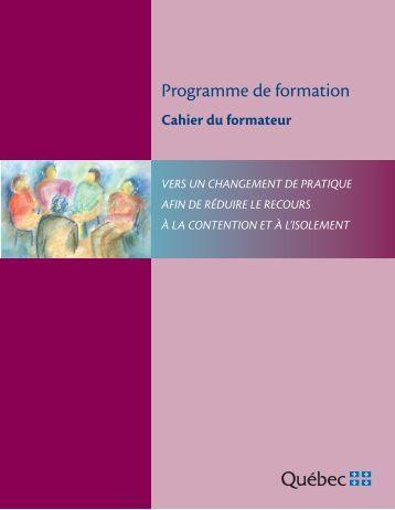 Cahier du formateur - Gouvernement du Québec