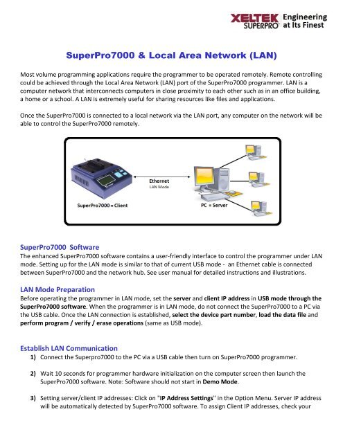 SuperPro7000 & Local Area Network (LAN) - Xeltek