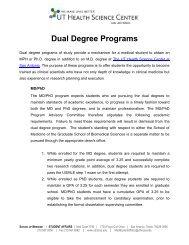 Dual Degree Programs - School of Medicine
