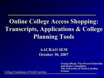 Online College Access Shopping: Transcripts ... - AACRAO