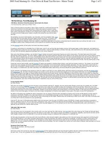 Motor Trend - 2009 Mustang GT/CS