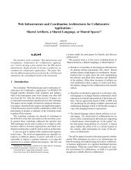 Web Infrastructure and Coordination Architectures for Collaborative ...