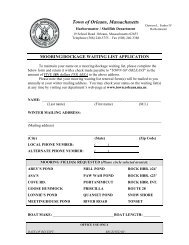 Mooring and Rock Harbor Dockage Waiting List ... - Town Of Orleans