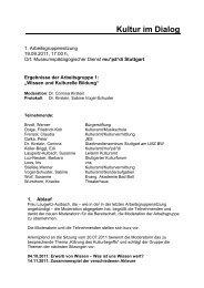 Protokoll AG 1 - 1. Sitzung - Kultur im Dialog