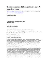 Communication skills in palliative care A practical guide