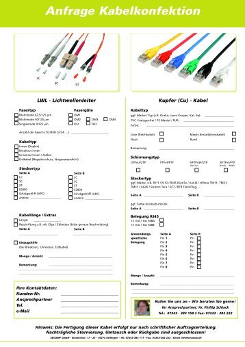Anfrage Kabelkonfektion - Secomp GmbH
