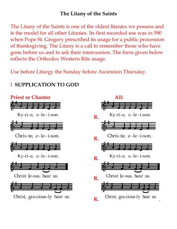 The Litany of the Saints - ROCOR Western-Rite