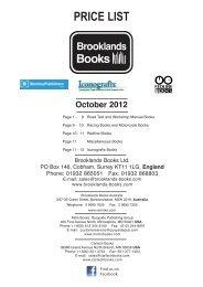 October 2012 PRICE LIST - Brooklands Books