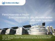 Studienmöglichkeiten für Behinderte an der FernUniversität in Hagen