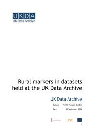 Rural markers in datasets held at the UK Data Archive. Report for ...