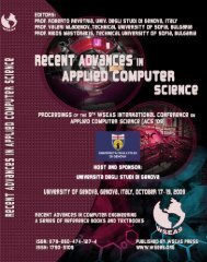 RECENT ADVANCES in APPLIED COMPUTER SCIENCE - Wseas.us