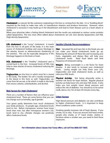 Cholesterol and You.pdf - Facey Medical Group
