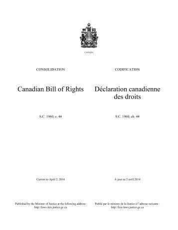 Déclaration canadienne des droits - Lois du Canada - Justice