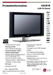 Produktinformation - LCD és plazma TV diszkont