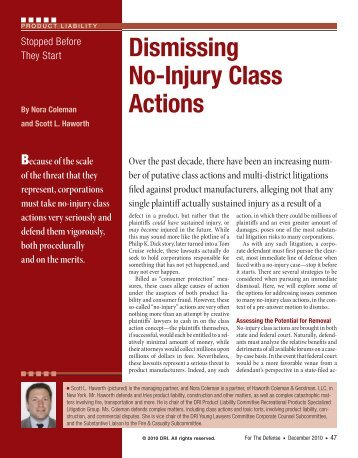 Stopped Before They Start: Dismissing No-Injury Class ... - DRI Today