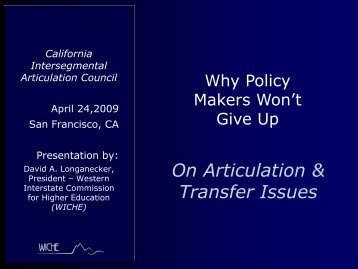 On Articulation & Transfer Issues - WICHE
