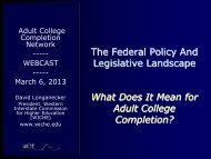 The Federal Policy and Legislative Landscape - Adult College ...