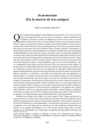 In memoriam (En la muerte de tres amigos) - Anuario Brigantino ...