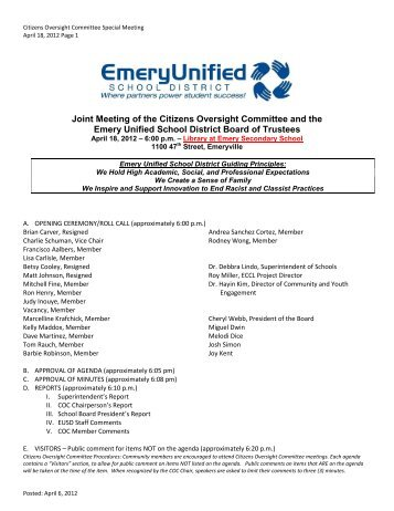 COC Meeting Packet - Emeryville Center of Community Life