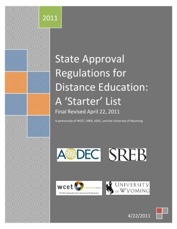 State Approval Regulations for Distance Education: A ... - WICHE