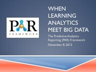 When Learning Analytics Meet Big Data: The PAR ... - WCET - WICHE