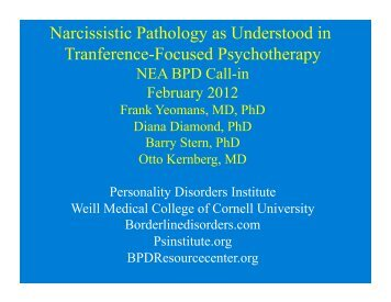 February 12, 2012 – Dr. Frank Yeomans - Borderline Personality ...