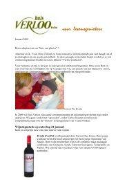 Wijndegustatie op zaterdag 24 januari - Huis Verloo