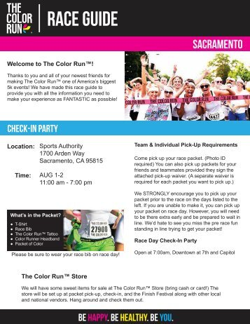 Download Your Sacramento Pre-Race Docs Here! - The Color Run