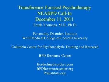 Dr. Frank Yeomans - Borderline Personality Disorder