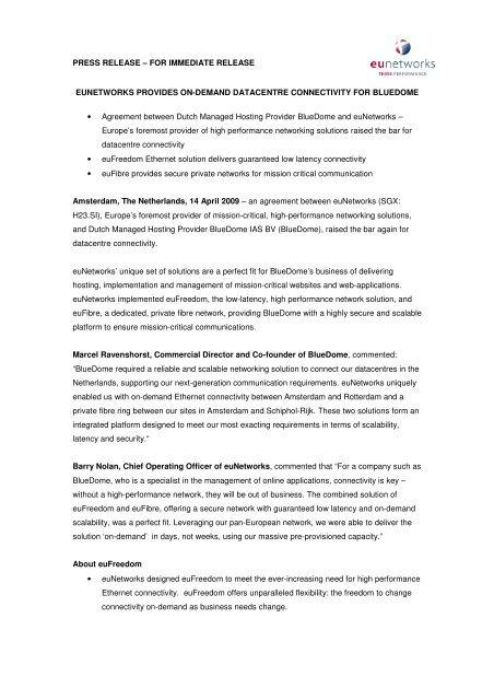 PRESS RELEASE – FOR IMMEDIATE RELEASE EUNETWORKS ...