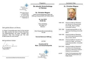 Die aktuelle Sicherheitslage in Pakistan Dr. Christian Wagner Dr ...