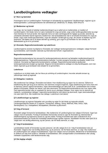 LandboUngdoms vedtægter - Danmarks Landboungdom