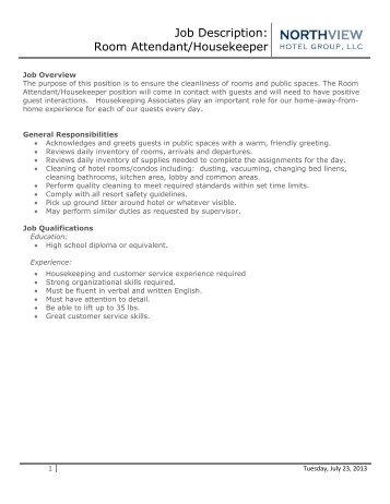 Job Description Housekeeping Supervisor  Eagle Crest Resort