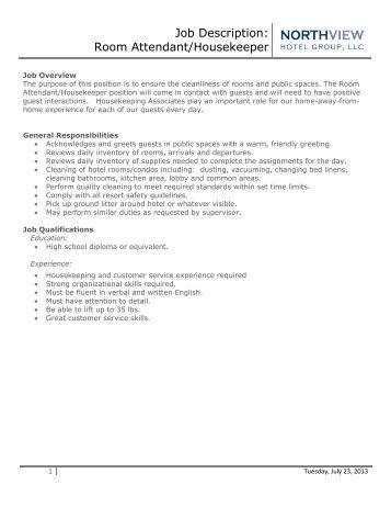 Job Description: Room Attendant/Housekeeper   Eagle Crest Resort
